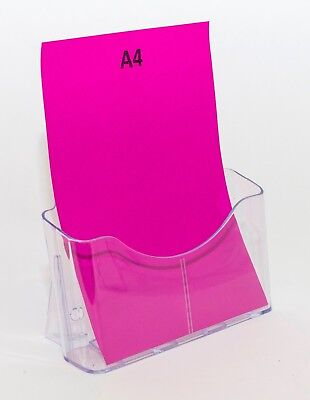 A4 Brochure Holder Counter Stand - 1 Pocket or Tier - Clear Plastic BHA41