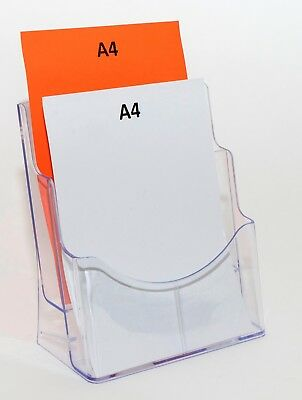 A4 Plastic Counter Brochure Holder - 2 Pocket or Tier - Clear Plastic BHA42