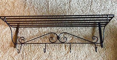 Longaberger Wrought Iron Wall Shelf with hooks