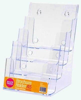 4 Pocket A5 Brochure Holder Display - Clear Plastic Acrylic BHA54