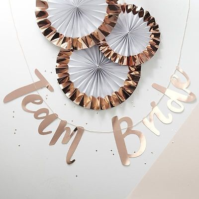 TEAM BRIDE BUNTING Bunting Banner - Rose Gold Pink Hen Party Decor Ginger Ray