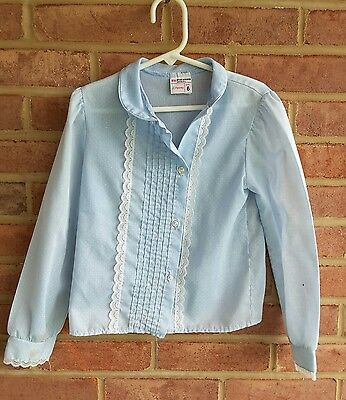vintage girls lace front button up lt blue blouse JCPenney size 6 needs button