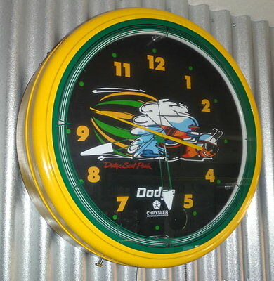 """20"""" Large Neon DODGE SCAT PACK 110 Volt Electric Wall Clock."""
