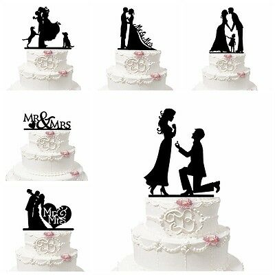 Romantic Acrylic Bride and Groom Silhouette Wedding Cake Topper Party Decoration