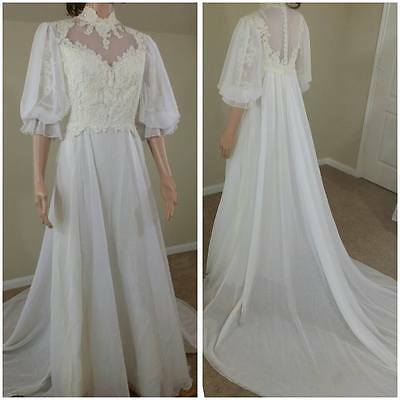 vintage ivory 70s wedding dress wedding gown with train by House of Bianchi