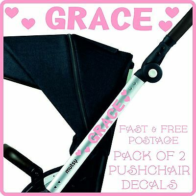 2 x PERSONALISED NAME STICKERS + HEARTS FOR BABY PRAM PUSHCHAIR STROLLER BUGGY