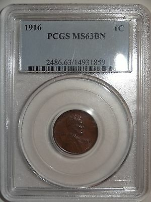 """1916-P Lincoln Wheat Cent - PCGS Graded MS63 BN """"Brown"""""""