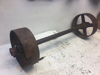 Old Small Cast Iron Wheels Hit & Miss Gas Engine Steam Punk Industrial Cart