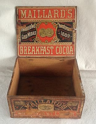 Antique Maillard's Caracas Cocoa Advertising Crate Box, wood w/lithograph labels