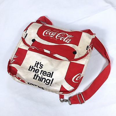 Vtg 1970's Coca-Cola Backpack Coke Soda Cotton Canvas Beach Party Bag Red Strap