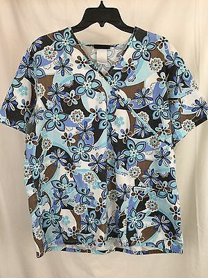 Women's Cherokee Blue Floral Print Y-neck Scrub Top Size Large