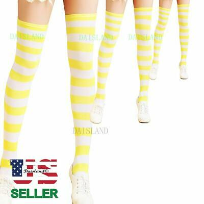 3 Women Stocking Sock Thigh-High Long Pantyhose Plus Size Cotton Strip Over Knee
