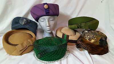 Vintage Lot of 7 Women's Wool Felt Feather Pill Box Dress Church Hats - LOT 2