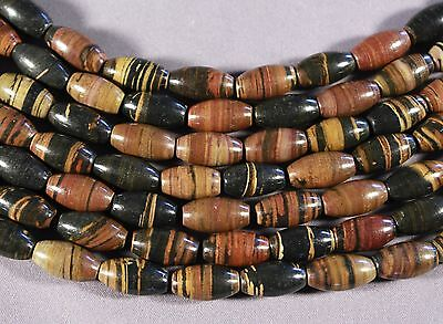 "Brown Black & Tan Petrified Tiger Wood Jasper 14X8Mm Oval Rice Beads 16""  Strand"