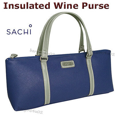 Sachi Wine Bottle Insulated Cooler Bag Tote Carrier Purse Handbag Lunch - Navy