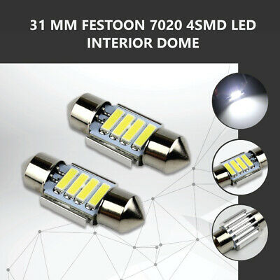 2 x 31MM FESTOON 7020 4SMD LED INTERIOR DOME MAP LIGHT BULB GLOBE 12V CAR 4WD