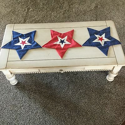 COLLECTIONS ETC. 4th of July Table Runner Decor: 5 Connecting Stars - NWT