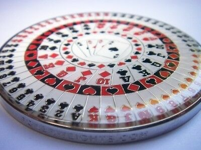GIANT Kaleidoscope Suited Heavy Poker Card Guard Hand Protector Metal Coin NEW