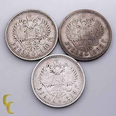 1896, 1898 & 1899 Russia Rouble Silver (3 Coin Lot)