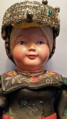 ANTIQUE Celluloid Doll, Made in West Germany, Trachten-Puppen ?  Heart Petiloons