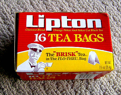 RARE vintage 1990s LIPTON tea box SMALL SIZE graphic food packaging product