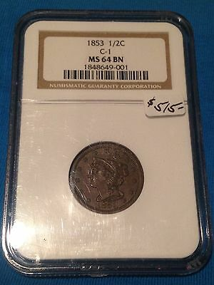1853 Braided Hair Half Cent Ngc Ms 64 Bn Uncirculated Luster Coin