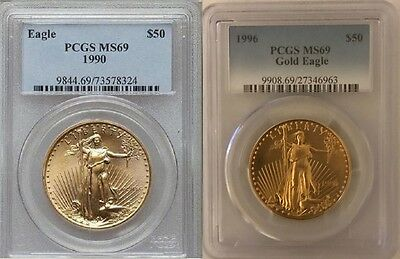 1990 & 1996 Gold Eagle $50 Pcgs Ms69 2 Coin Set Low Pop In Ms70 Only 35 & 14