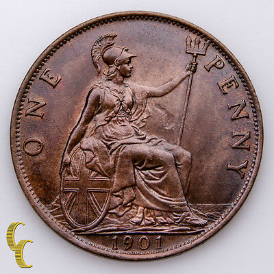 1901 Great Britain Penny Coin, Unc. KM# 790