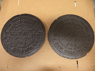 2 New Orleans Water Meter Cover Crescent City Nola French Quarter Cast Iron Real