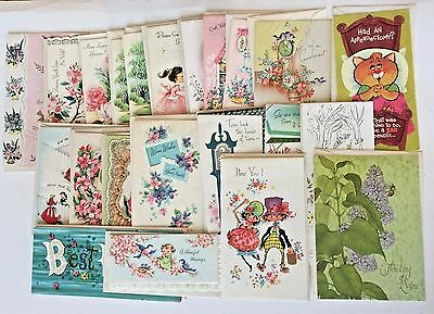 Vintage 40s 50s Get Well Greeting Cards Lot 22 NEW UNUSED Great for Crafts