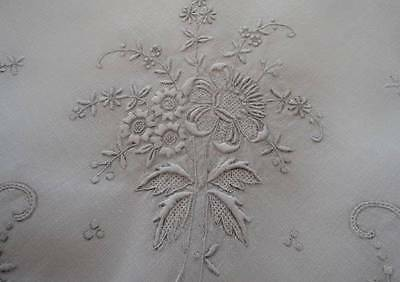 Vintage Madeira Silver Gray Embroidered Tablecloth Cutwork Heirloom White 49""