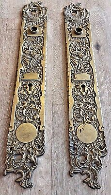 2 Antique Belfort Rh Co Ornate Brass Skeleton Key Door Knob Backplate Hardware