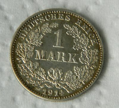 1914 G - 1 Mark German Empire .900 silver low mintage