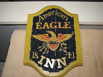"Vintage American EAGLE INN 1841 Gold Paint Americana Rustic 13"" Wall Plaque"