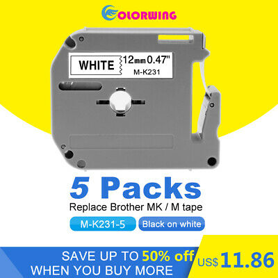 5PK M-K231 Black on White Label Tapes Compatibl Brother Label Manager 12mm 1/2""