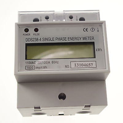 110V 60hz 20A to 100A Single Phase DIN-rail Type Kilowatt Hour kwh Meter