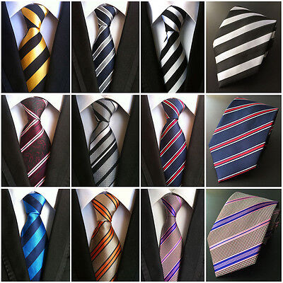 Mens Elegant 100% Silk Stripe Tie JACQUARD WOVEN Necktie Wedding Party Ties New