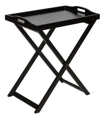 Black Butlers Tray/Side Table/Bedside Table/Folding Table Lounge