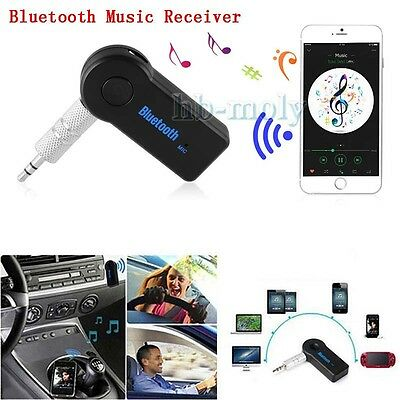 Wireless Bluetooth 3.5mm AUX Audio Stereo Music Home Car Receiver Adapter Mic x1