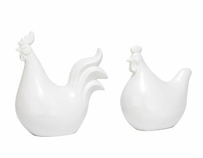 """GwG Outlet Polystone Rooster Chicken Statue Set of 2 in 8"""", 10""""H 77153"""