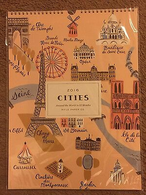 "New/Sealed! Rifle Paper Co. 2016 Cities Wall Calendar (15"" x 11"")"