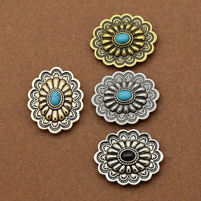 1 Pc Western Retro Conchos Flower Buttons Alloy Screw Back DIY Accessories Craft