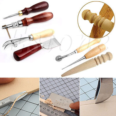 7Pcs Leather Kit Thread Trimming Punch Carving Working Stitching Hole Craft Tool
