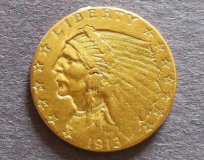 USA Indian Head Type  1913 $2.50 Gold Coin