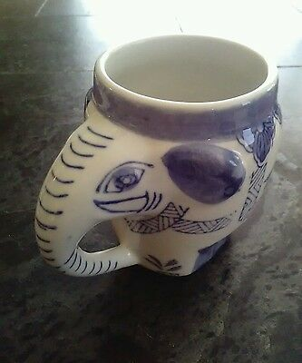 Vintage Blue & White Porcelain Elephant Cup Made in China