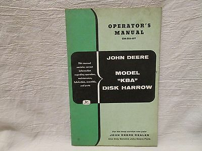 "Vintage John Deere Operator's Manual Model ""KBA"" Disk Harrow"