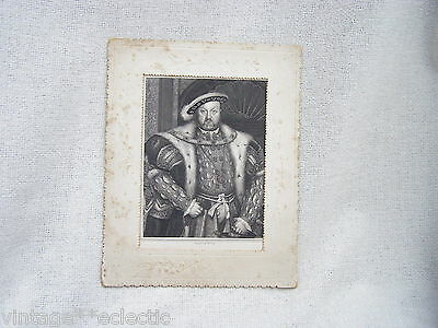 Antique Victorian Print Engraving King Henry Viii ~ W.t. Fry Engraver Card Frame