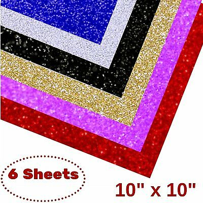 "Glitter Heat Transfer Vinyl HTV, 10"" x 10"" Sheets , 6 Colors Starter Bundle"