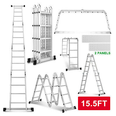 15.5FT Aluminum Multi Purpose Telescopic Ladder Extension Folding Garden Use