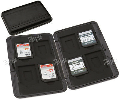 UK Black8 in 1 Memory Card Case Holder Hard Storage 8 SD Carrying Box Gaine